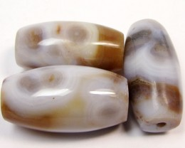 159 CTS PARCEL  THREE AGATE  BEADS AGR 268