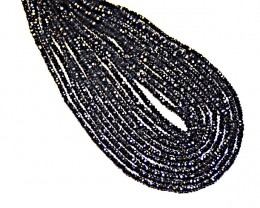 "AAA 2mm Black Spinel beads diamond polished 13"" line"