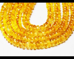 5mm - 6mm orange CITRINE faceted beads rondelles AAA 16""