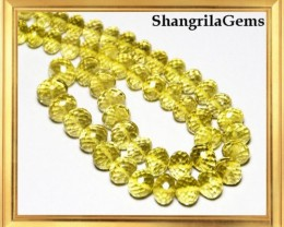 7mm to 9mm Gold COGNAC QUARTZ  faceted beads rondelles 15""