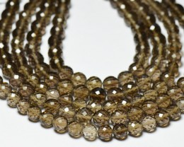 "6mm SMOKEY QUARTZ AAA round faceted beads 8"" smk007"