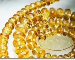 186cts 6-9mm Natural Brazil Brandy Citrine Faceted Beads J1