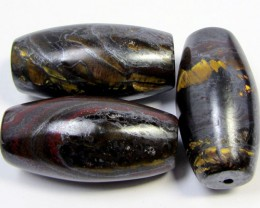289 CTS THREE BRIGHT TIGER EYE BEADS . AGR 283
