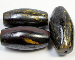 303CTS THREE BRIGHT TIGER EYE BEADS . AGR 285