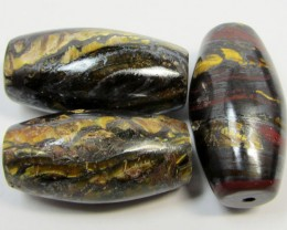 196 CTS THREE BRIGHT TIGER EYE BEADS . AGR 287