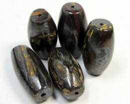 438 CTS FIVE  BRIGHT TIGER EYE BEADS . AGR 290