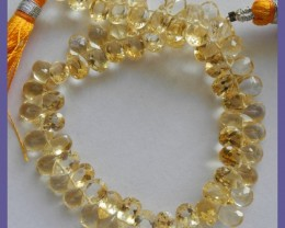 """ABSOLUTELY GORGEOUS AA++ 5X7MM CITRINE FACETED PEAR BRIOLETTE BEADS!"""