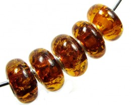 14 MM    5 PCS NATURAL  AMBER  BEADS 24.7 CTS  AGR303