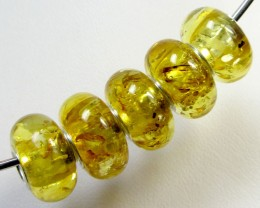 14 MM    5 PCS NATURAL  AMBER  BEADS 22.6  CTS  AGR307