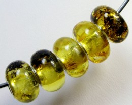 14 MM    5 PCS NATURAL  AMBER  BEADS 23.1 CTS  AGR308