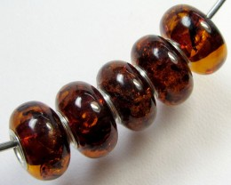 14 MM    5 PCS NATURAL  AMBER  BEADS 22 CTS  AGR310