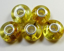 14 MM    5 PCS NATURAL  AMBER  BEADS CTS  AGR312
