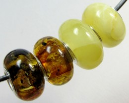 14 MM    4 PCS NATURAL  AMBER  BEADS17 CTS  AGR313