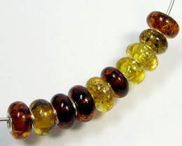 14 MM    10  PCS NATURAL  AMBER  BEADS 48.9  CTS  AGR318