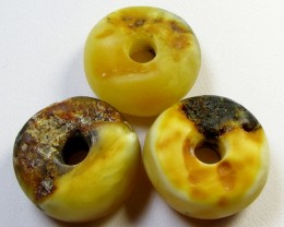 20 MM    3  PCS NATURAL  AMBER  BEADS 41.5 CTS  AGR321
