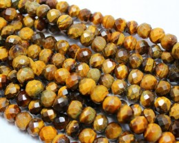 1230CTS- 3STRAND TIGER EYE FACETED 12 X 10 MM 15 INCH +CLASP