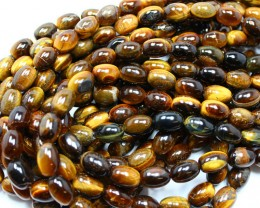 900CTS-3 STRAND TIGER EYE DRUM 14 X 10 MM 16 INCH + CLASP