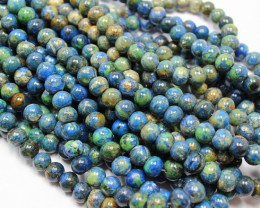 500 CTS - 2 STRAND AZURITE 10 MM BEADS 16 INCHES + CLASP