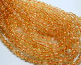 165CTS -1 STRAND CITRINE BEADS 8 MM ROUND 15 INCH + CLASP