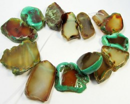 514CTS AQUA COLOUR  NATURAL SHAPE STAND AGATE BEADS  AGR 338