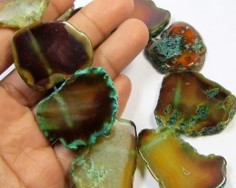454CTS AQUA COLOUR  NATURAL SHAPE STAND AGATE BEADS  AGR 339