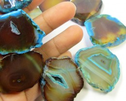 579CTS AQUA COLOUR  NATURAL SHAPE STAND AGATE BEADS  AGR 340