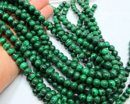 1260CTS-3 STRAND MALACHITE BEADS 9-9.5 MM 16 INCH + CLASP