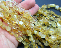 170CTS -1 STRAND CITRINE BEADS FACETED 16 INCH + CLASP