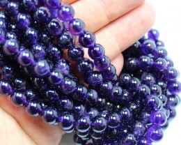 180 CTS-1 STRAND AMETHYST 8 MM ROUND BEADS 15.5 INCH + CLASP