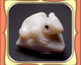 ** 46.4ct  Lambina Semi Black Opal Frog Carving **