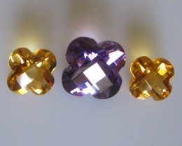 Matching Set Amethyst and Citrine Checker Board Flower Cut