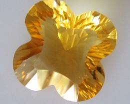 3.02cts Citrine Concave Facet Flower Cut