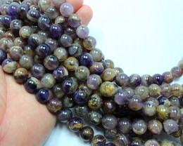 1260CTS-3 STRAND AMETHYST ROUND 12 MM MM 16 INCH + CLASP