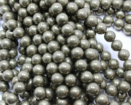 104 CTS -1 STRAND PYRITE BEADS 10 MM ROUND 15 INCHES + CLASP