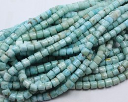 145 CTS 1 STRAND LARIMAR TUBE SHAPE 6 X 6 MM 15.5INCH+CLASP