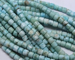 290 CTS 2 STRAND LARIMAR TUBE SHAPE 6 X 6 MM 15.5INCH+CLASP