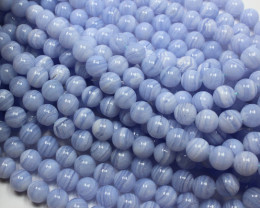 290CTS BLUE LACE AGATE NATURAL 10 MM ROUND 1 STRAND+CLASP