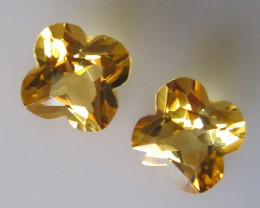 4.16tcw Matching Pear Citrine Flower Cut