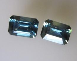 Matching Pair Emerald Cut Blue Parti Sapphire, 2.52cts