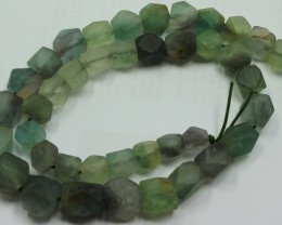 380CTS-1 STRAND FLUORITE BEADS 16 INCH + CLASP