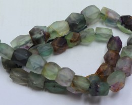 375CTS-1 STRAND FLUORITE BEADS 15 INCH + CLASP