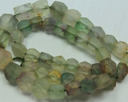 185CTS-1 STRAND FLUORITE BEADS 15 INCH + CLASP