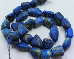 465 CTS 1 STRAND LAPIS  NUGGET SHAPE BEADS 16 INCH + CLASP