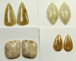 58 CTS PAIRS NATURAL  CORAL FOSSIL STONES MS1045