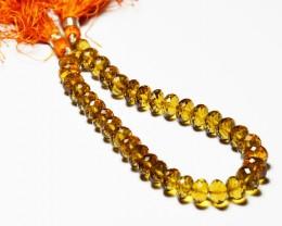 "NEW ITEM    AAA+ deep MADEIRA CITRINE Beads 8"" line 8-9mm"
