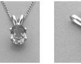 5x3mm Oval Six Prong Pre-Notched Pendant Setting in Sterling