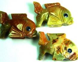PARCEL 3 CUTE FISH ROCK CARVINGS  FROM PERU       AAA 1027