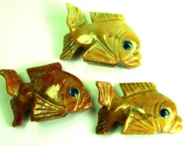 PARCEL 3 CUTE FISH ROCK CARVINGS  FROM PERU       AAA 1030