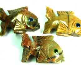 PARCEL 3 CUTE FISH ROCK CARVINGS  FROM PERU       AAA 1032