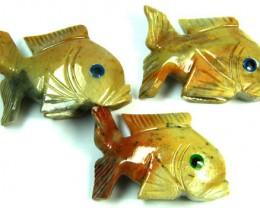 PARCEL 3 CUTE FISH ROCK CARVINGS  FROM PERU    AAA 1039